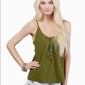 Tobi Olive Green Side Cut Out Tank Top